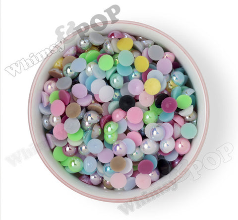 MIXED Color 10mm AB Flatback Pearl Cabochons - WhimsyandPOP