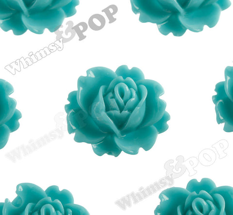 TEAL GREEN 18mm Peony Flower Cabochons - WhimsyandPOP