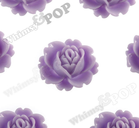 LAVENDER PURPLE 18mm Peony Flower Cabochons - WhimsyandPOP