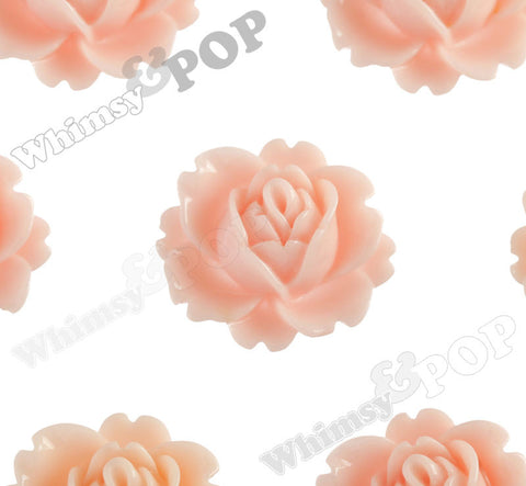 SHABBY CHIC PEACH 18mm Peony Flower Cabochons