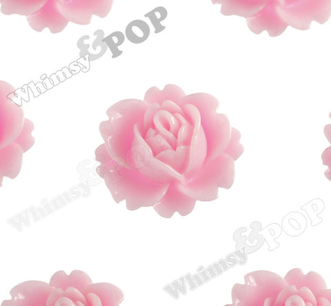 PINK 18mm Peony Flower Cabochons