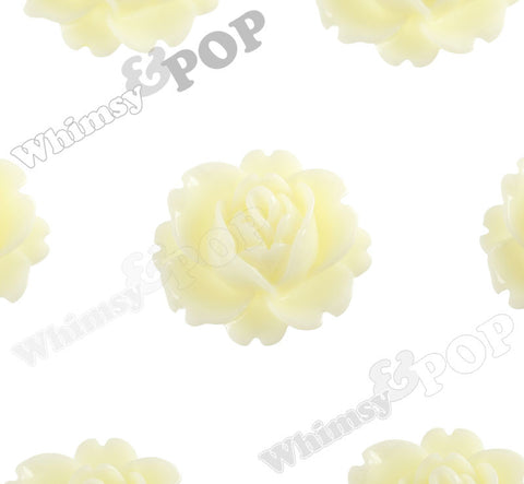YELLOW IVORY 18mm Peony Flower Cabochons - WhimsyandPOP