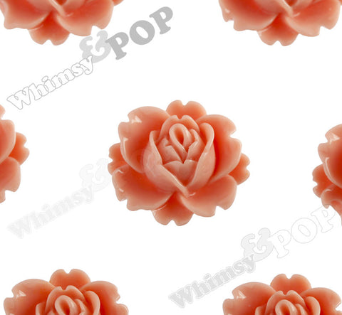 CORAL 18mm Peony Flower Cabochons - WhimsyandPOP