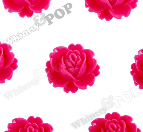 HOT PINK 18mm Peony Flower Cabochons - WhimsyandPOP