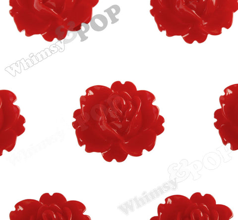 RED 18mm Peony Flower Cabochons