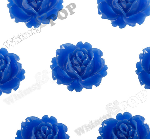 ROYAL BLUE 18mm Peony Flower Cabochons
