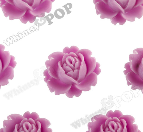 LILAC PURPLE 18mm Peony Flower Cabochons