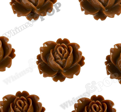 BROWN 18mm Peony Flower Cabochons - WhimsyandPOP