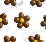 BROWN 13mm Baby Daisy Flower Cabochons - WhimsyandPOP
