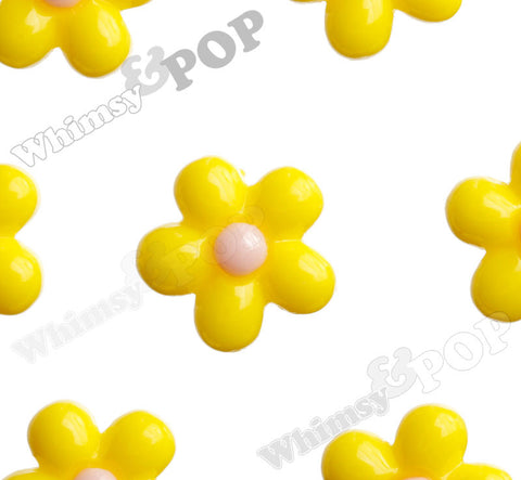 YELLOW 13mm Baby Daisy Flower Cabochons - WhimsyandPOP