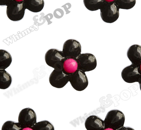 BLACK 13mm Baby Daisy Flower Cabochons - WhimsyandPOP