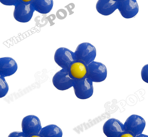 ROYAL BLUE 13mm Baby Daisy Flower Cabochons - WhimsyandPOP