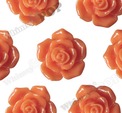 ORANGE 16mm Pointy Rose Flower Cabochons