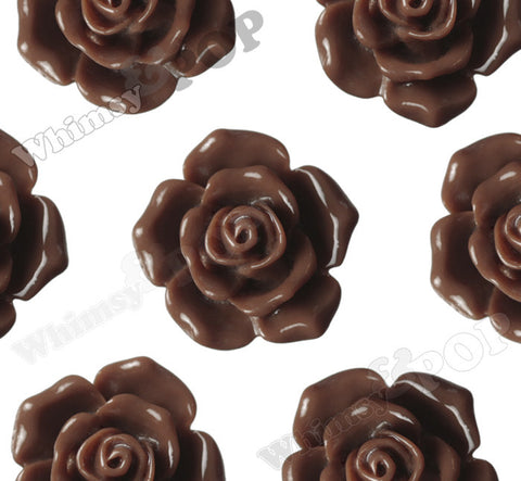 BROWN 16mm Pointy Rose Flower Cabochons - WhimsyandPOP