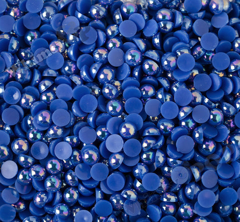 ROYAL BLUE 8mm AB Flatback Pearl Cabochons - WhimsyandPOP