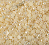 PALE YELLOW 8mm AB Flatback Pearl Cabochons - WhimsyandPOP