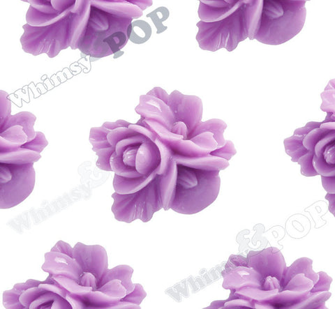 LILAC PURPLE 16mm Fancy Textured Flower Bouquet Cabochons