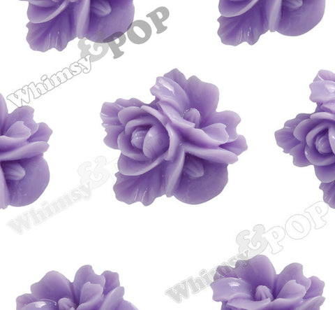 LAVENDER PURPLE 16mm Fancy Textured Flower Bouquet Cabochons - WhimsyandPOP