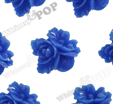 ROYAL BLUE 16mm Fancy Textured Flower Bouquet Cabochons