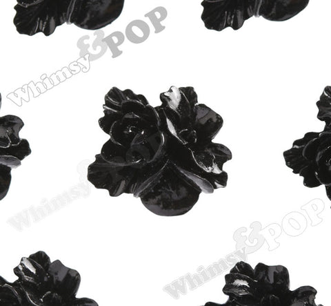 BLACK 16mm Fancy Textured Flower Bouquet Cabochons - WhimsyandPOP