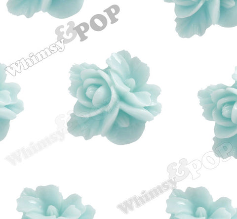 AQUA BLUE 16mm Fancy Textured Flower Bouquet Cabochons - WhimsyandPOP