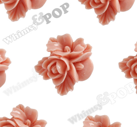 CORAL 16mm Fancy Textured Flower Bouquet Cabochons - WhimsyandPOP