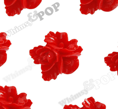 RED 16mm Fancy Textured Flower Bouquet Cabochons