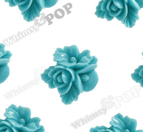 TEAL GREEN 16mm Fancy Textured Flower Bouquet Cabochons - WhimsyandPOP