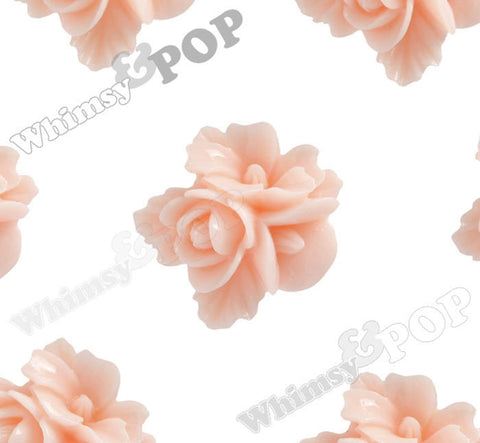 SHABBY CHIC PEACH 16mm Fancy Textured Flower Bouquet Cabochons