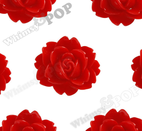 RED 18mm Cabbage Rose Flower Cabochons - WhimsyandPOP
