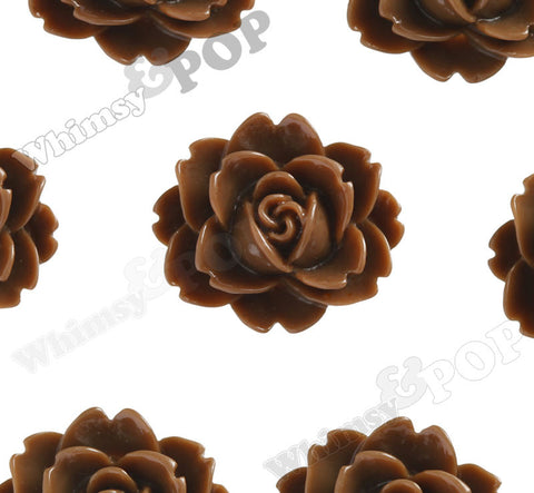 BROWN 18mm Cabbage Rose Flower Cabochons - WhimsyandPOP