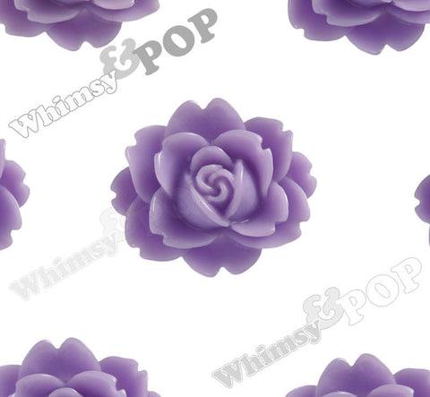 LAVENDER PURPLE 18mm Cabbage Rose Flower Cabochons - WhimsyandPOP