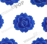 ROYAL BLUE 18mm Cabbage Rose Flower Cabochons