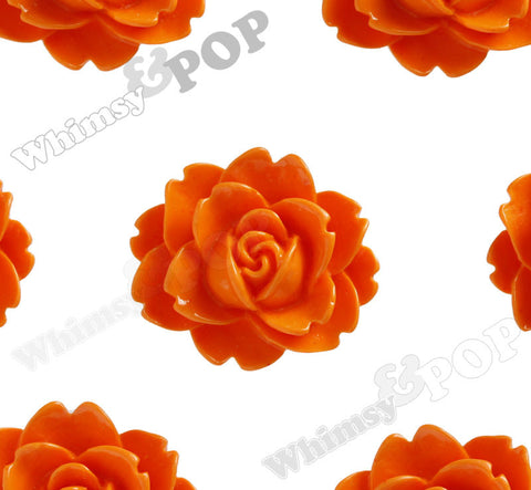 ORANGE 18mm Cabbage Rose Flower Cabochons