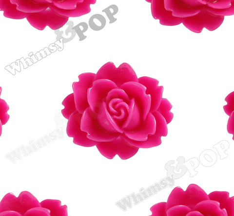 HOT PINK 18mm Cabbage Rose Flower Cabochons - WhimsyandPOP
