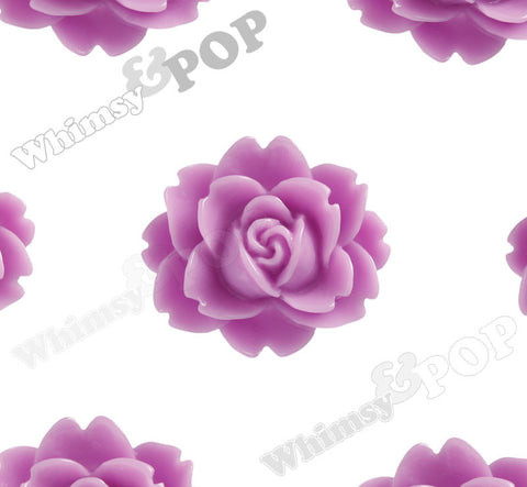LILAC PURPLE 18mm Cabbage Rose Flower Cabochons