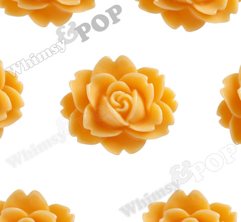 SORBET ORANGE 18mm Cabbage Rose Flower Cabochons