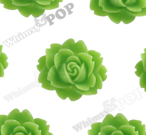 GREEN APPLE 18mm Cabbage Rose Flower Cabochons - WhimsyandPOP