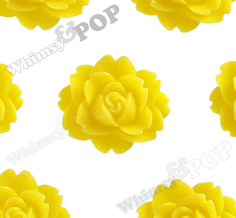 YELLOW 18mm Cabbage Rose Flower Cabochons - WhimsyandPOP
