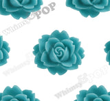 TEAL GREEN 18mm Cabbage Rose Flower Cabochons - WhimsyandPOP