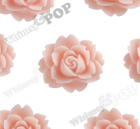 SHABBY CHIC PEACH 18mm Cabbage Rose Flower Cabochons