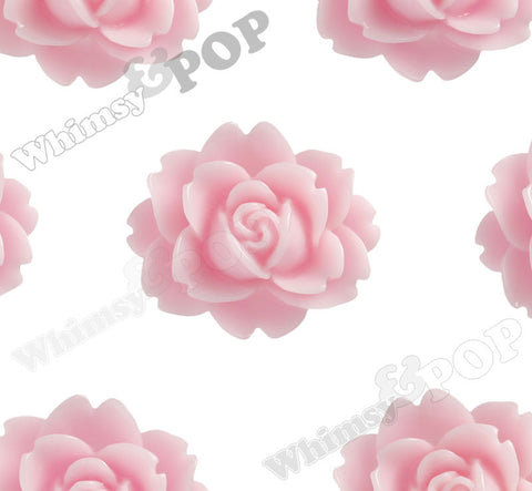 PINK 18mm Cabbage Rose Flower Cabochons - WhimsyandPOP