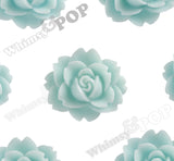 AQUA BLUE 18mm Cabbage Rose Flower Cabochons - WhimsyandPOP