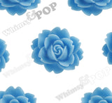 LIGHT BLUE 18mm Cabbage Rose Flower Cabochons - WhimsyandPOP