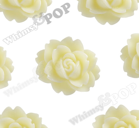 YELLOW IVORY 18mm Cabbage Rose Flower Cabochons - WhimsyandPOP