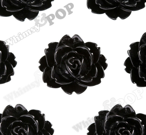 BLACK 18mm Cabbage Rose Flower Cabochons - WhimsyandPOP