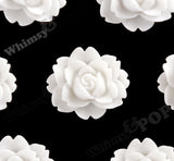WHITE 18mm Cabbage Rose Flower Cabochons - WhimsyandPOP