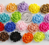 ROYAL BLUE 18mm Cabbage Rose Flower Cabochons - WhimsyandPOP