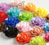 CORAL 18mm Cabbage Rose Flower Cabochons - WhimsyandPOP