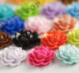 MIXED Color 18mm Cabbage Rose Flower Cabochons